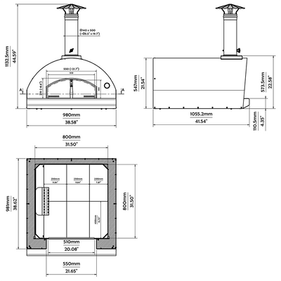The Marinara Countertop Stainless Steel Pizza Oven Dimensions