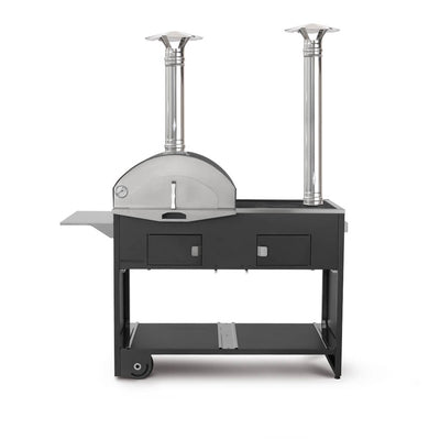 The Pizza e Cucina Double: A Modular, Wood-Fired Pizza Oven, Cast-Iron Grill, Smoker, Wok, Flattop Griddle, Smoker by Fontana Forni