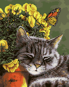 """Cat sleeping on flowers"" Grown Up Paint By Numbers"