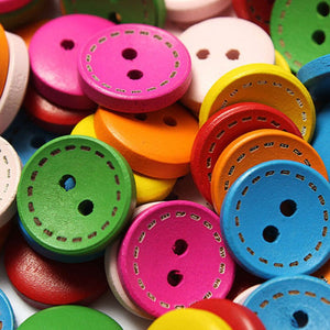 Mixed 2 Holes Wooden Coloured Buttons 50pcs
