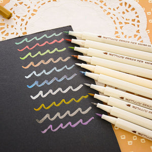Metallic soft brush marker pens set of 10