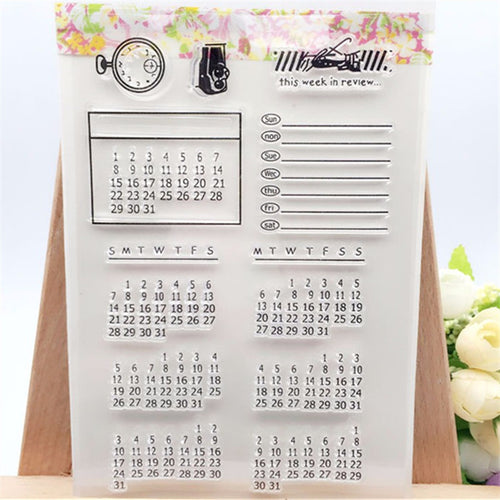 Calendar clear stamps for journal