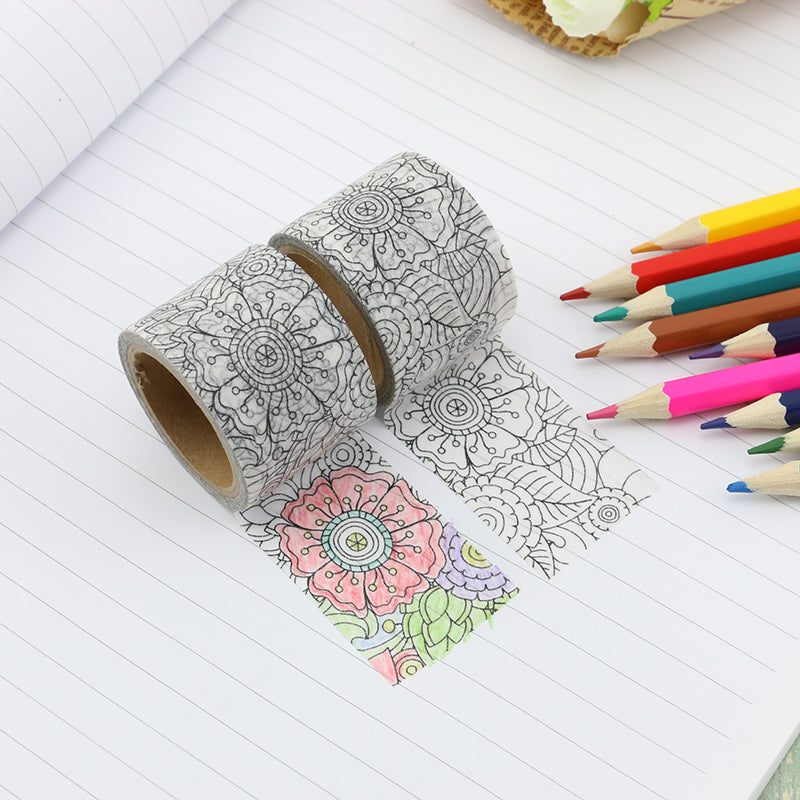 colour your own flower pattern washi tape