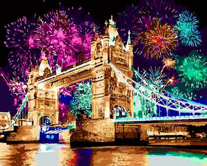 """Fireworks on Tower Bridge"" grown up paint by numbers"