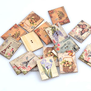 30pcs Wooden Postage Stamp Buttons Vintage Pattern