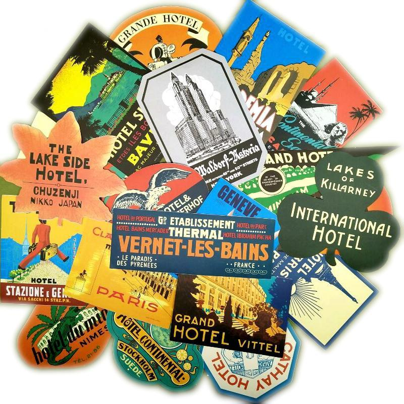 38Pcs Retro travel themed stickers