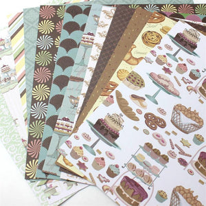 "12pcs 6"" Single-side Printed Delicious Donuts pattern papercraft art paper"