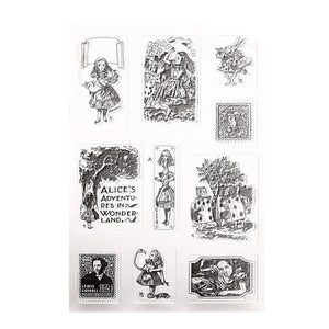 Alice in Wonderland themed clear silicone stamps