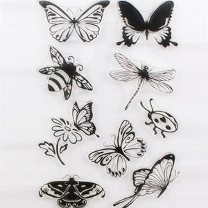 Butterfly themed clear silicone stamps