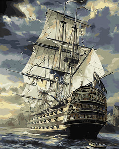 """old warship"" grown up paint by numbers"