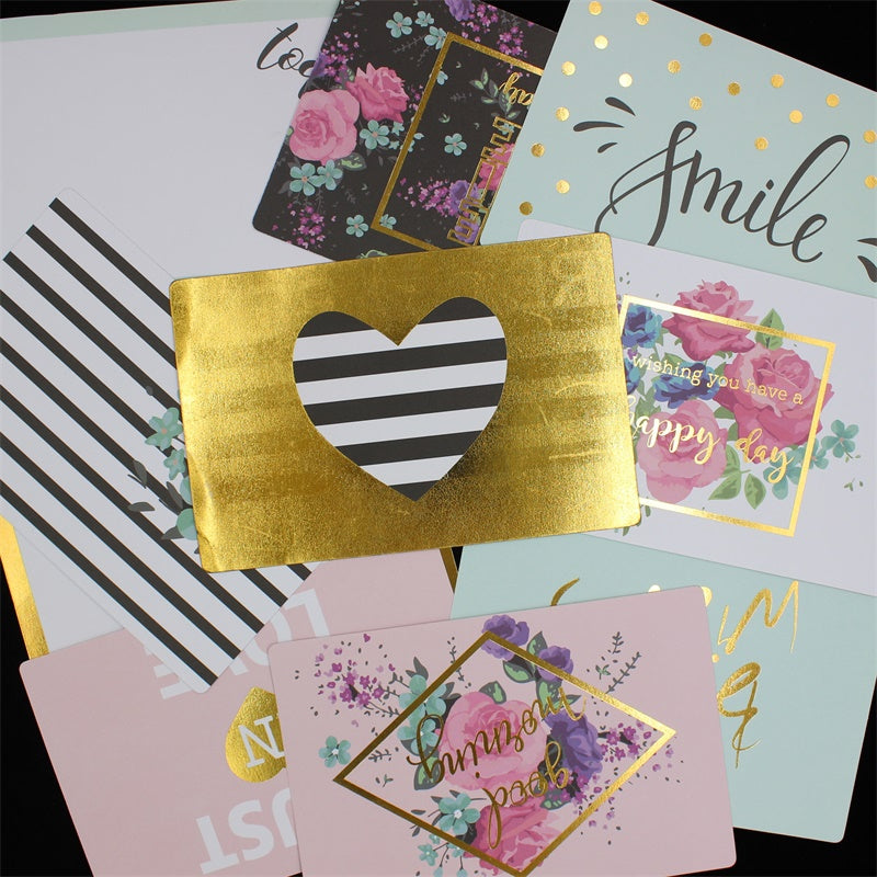 10pcs Double-sided Sentiments Cardstock Die Cuts