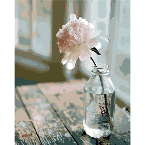 """Flower in a milk bottle"" Grown up paint by numbers"