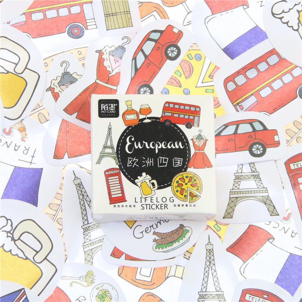 45 Pcs/lot Travel In Europe Mini Paper Sticker