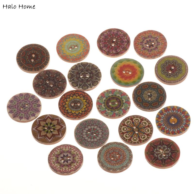 50 Vintage Pattern Wood Buttons