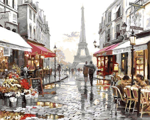"""Paris scene"" grown up paint by numbers"
