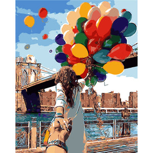 """Brooklyn Bridge Balloons"" Grown Up Paint by Numbers"