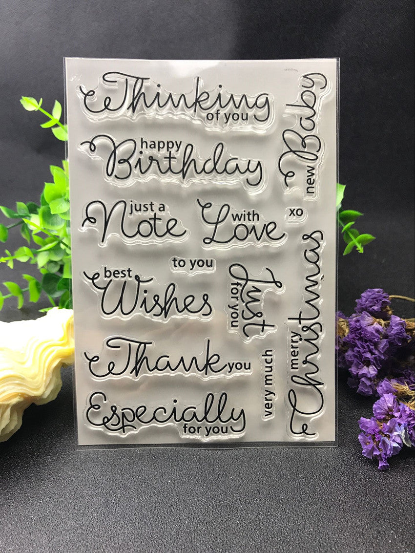 Greetings cards common words clear silicone stamps