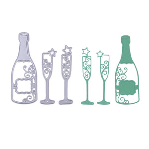 3pcs Champagne and Glasses cutting die set