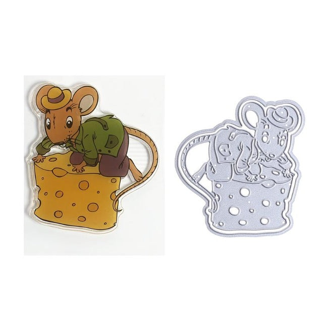 Mouse Stealing Cheese Clear Stamp + Cutting Die Set