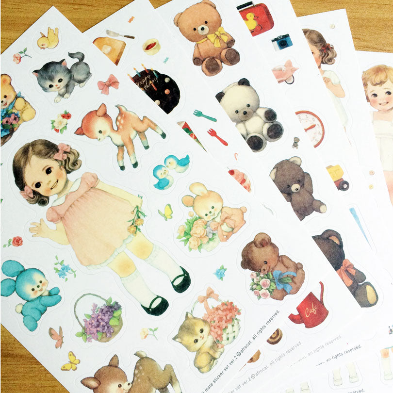 6sheets/pack vintage style doll animals paper stickers