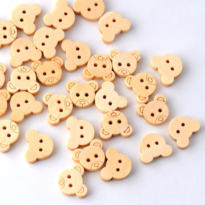 20Pcs Teddy Bear Wood Buttons