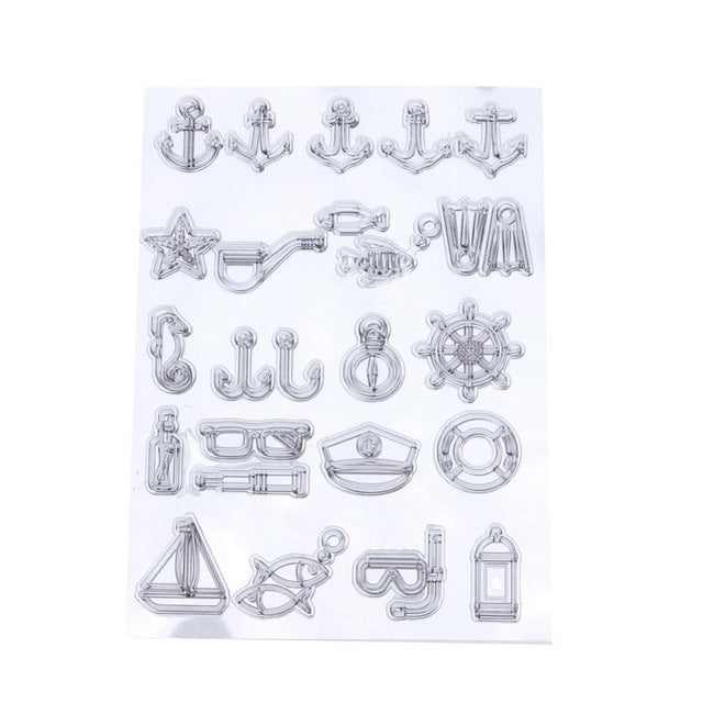 Nautical themed clear silicone stamps