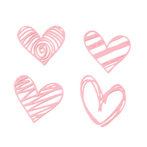 scribbled hearts 4 piece cutting die set