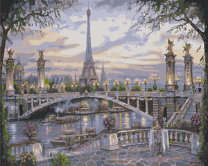 """Paris Bridge"" Grown up paint by numbers"