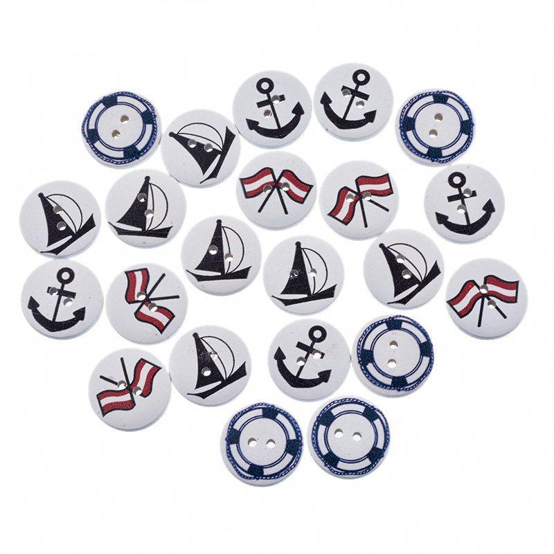50 wooden nautical themed buttons