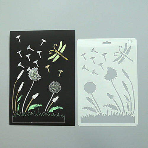 Dandelion and Dragonfly Plastic Stencil