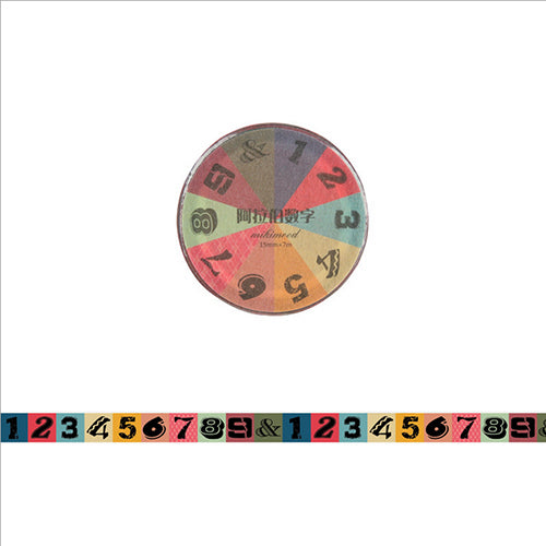 Colourful vintage numbers washi tape