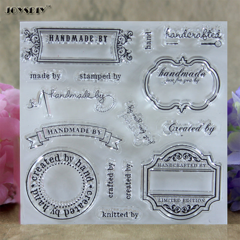 Handmade By Labels clear stamps