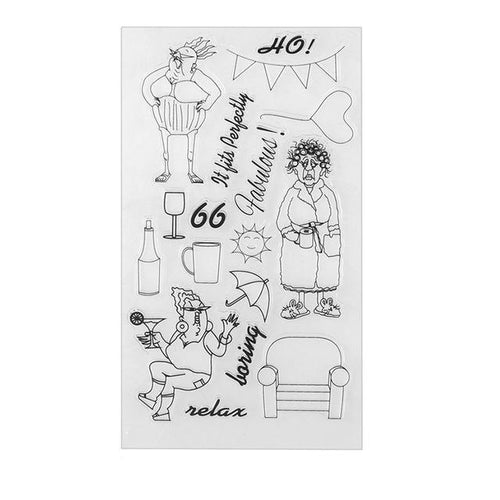 Comedy old ladies clear silicone stamps