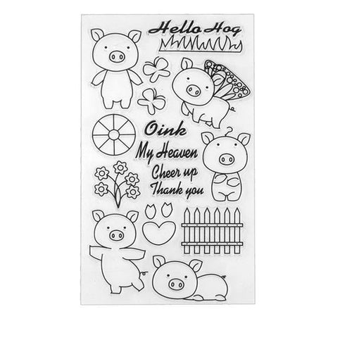 Pig themed clear silicone stamps