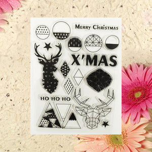 Geometric christmas clear silicone stamps