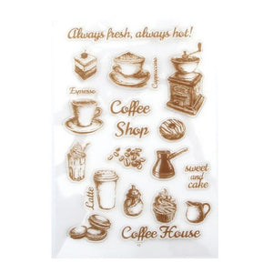 coffee themed clear silicone stamps