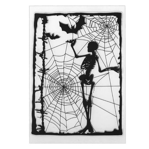 halloween skeleton and cobwebs clear silicone stamps