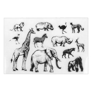 zoo animals clear silicone stamps