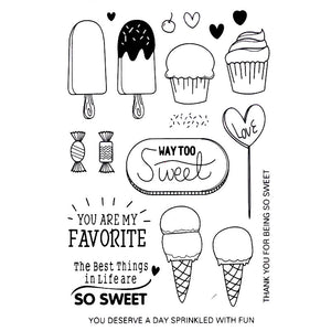 Sweet tooth themed clear silicone stamps