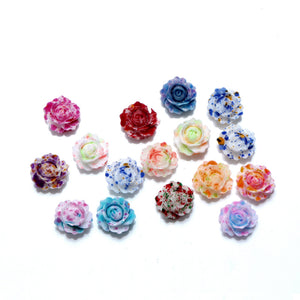 100Pcs Mixed Resin Rose Flower Decorations