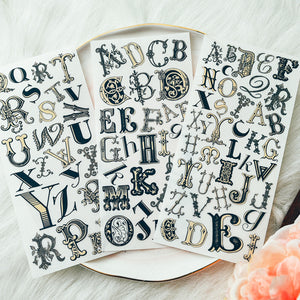 Vintage Alphabet Letters Rub On set