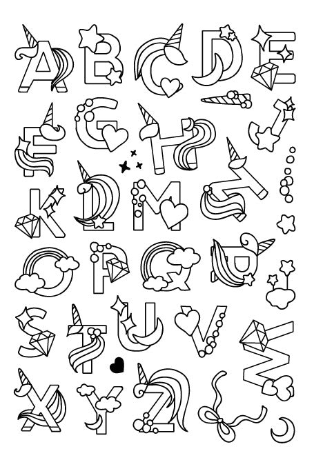 Unicorn Alphabet Letters Clear stamp set
