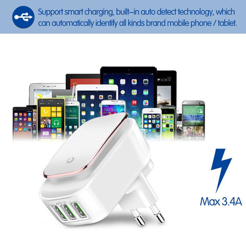 3-Port Travel Wall Charger With LED Night Lamp