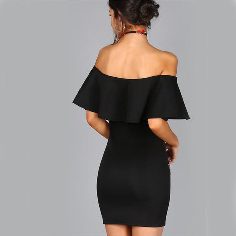 Beautiful Ruffle Top Off Shoulder Ruffle Bottom Midi Dress