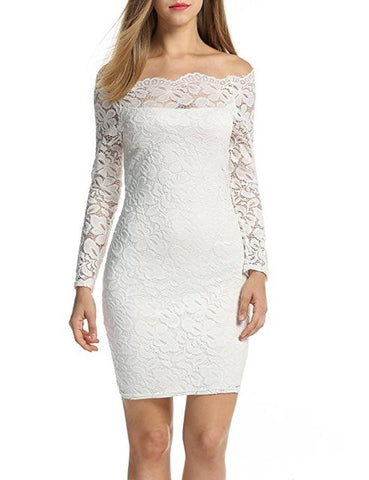 Elegant Laced Off Shoulder Mini Dress