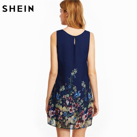Floral Scoop Neck Sleeveless Dress