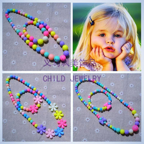 Cute Acrylic Beads Necklace and Bracelet for Kids