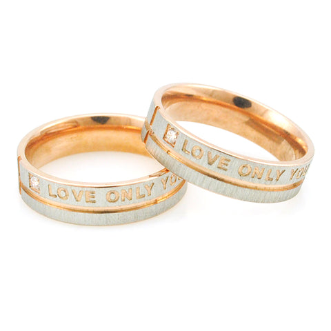 "Stainless Steel Simple Circle ""Love Only You"" Couple Rings,Wedding Ring,Engagement Rings (Pair, Set of 2)"