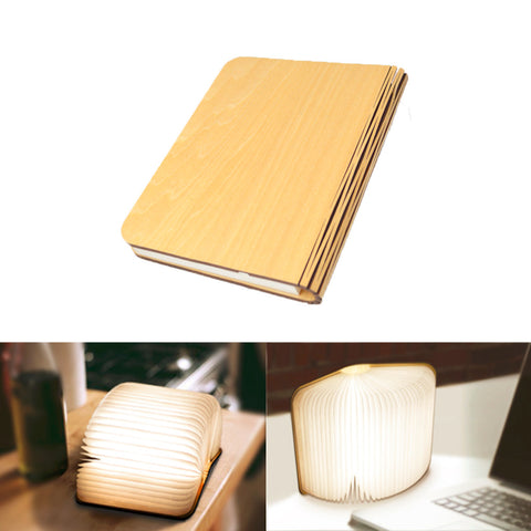 USB Rechargeable LED Foldable Wooden Book Shape Desk Lamp Nightlight Booklight for Home Decor