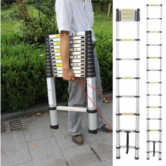 Portable Folding Extension Ladder - Telescopic Extendable Light Weight Yet Heavy Duty -  Collapsible Easy Store For Multi-Purpose Use